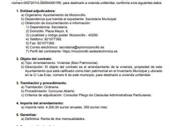 ARRENDAMIENTO DE VIVIENDA MUNICIPAL EN MOZONCILLO (SEGOVIA)