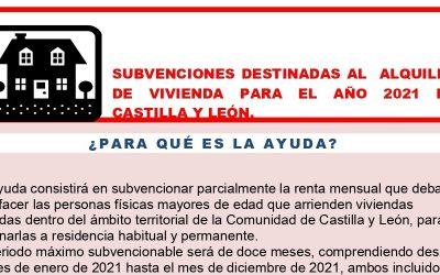 SUBVENCIONES DESTINADAS AL  ALQUILER DE VIVIENDA PARA EL AÑO 2021 EN CASTILLA Y LEÓN.