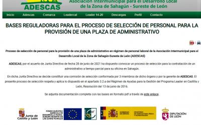 ADMINISTRATIVO/A PARA GRUPO DE ACCIÓN LOCAL ADESCAS (LEÓN)